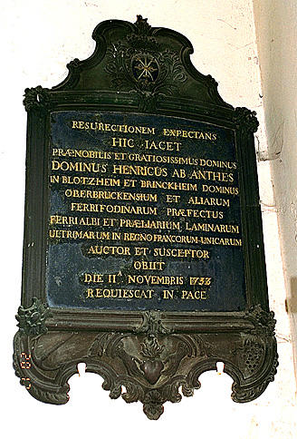 PLAQUE FUNERAIRE : de Henri d'Anthès,seigneur de Blotzheim,de Brinckheim et d'Oberbruck