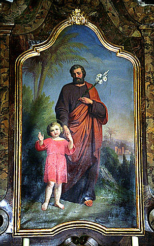 ensemble de 4 tableaux : Annonciation, saint Joseph et l'Enfant Jésus, Sacré-Coeur, Vierge du Sacré-Coeur