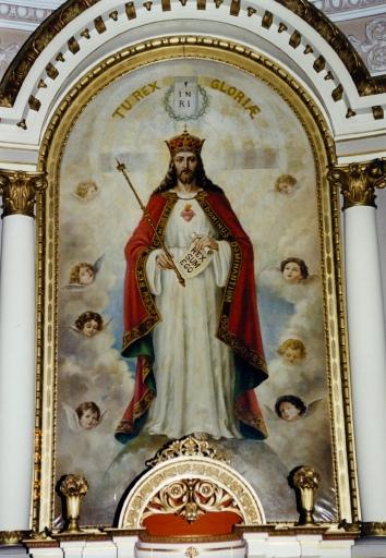 retable du maître-autel : peinture monumentale représentant le Christ-roi.