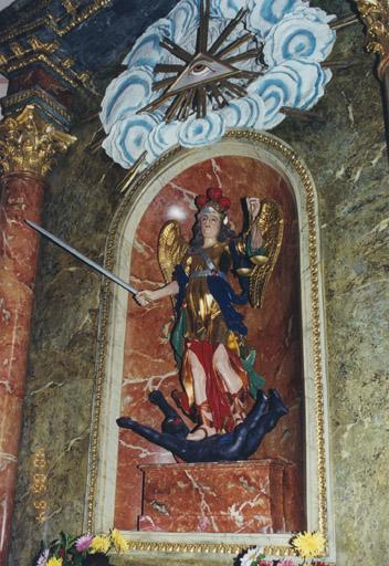 3 statues : Saint Michel, sainte Odile, sainte Catherine d'Alexandrie