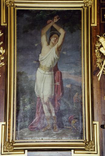 ensemble de 2 tableaux : saint Sébastien, saint Blaise