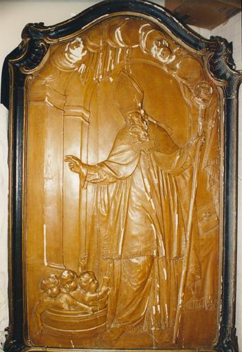 Ensemble de 2 reliefs : Baptême du Christ, saint Nicolas