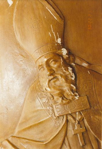ensemble de 2 reliefs : Le Baptême du Christ, saint Nicolas