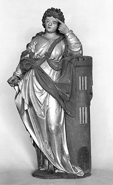 2 statues : sainte Agathe et sainte Barbe