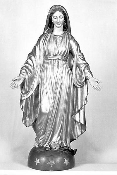 2 statues : Vierge de l'Immaculée Conception et saint Joseph