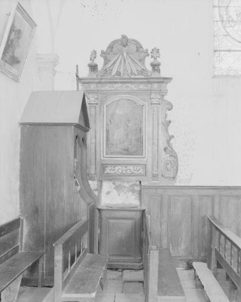 Fonts baptismaux, retable et tableau