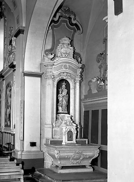 autel, gradin d'autel, tabernacle, retable (autel secondaire droit)