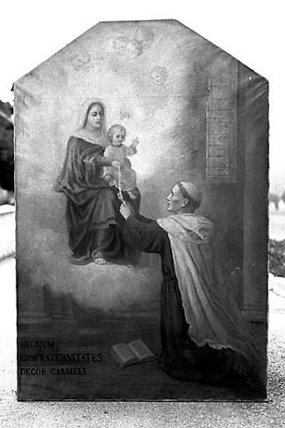 Tableau d'autel : la Donation du scapulaire à saint Simon Stock