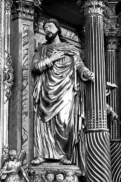4 statues : saint Joseph, Vierge à l'Enfant, saint Paul et saint Pierre