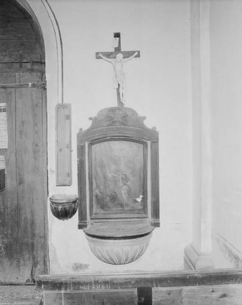 fonts baptismaux et tableau : le Baptême du Christ