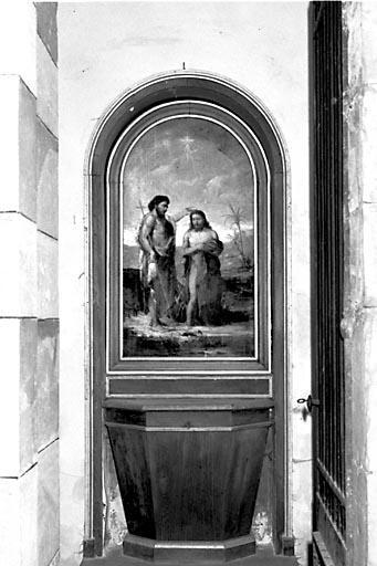 Fonts baptismaux, gradin d'autel, retable et tableau
