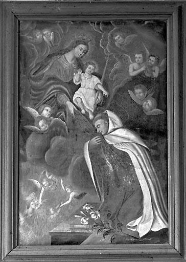 tableau : la Donation du rosaire à saint Dominique