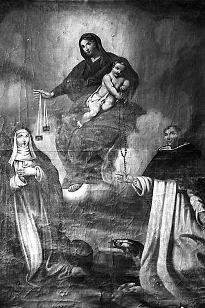 Tableau : la Donation du rosaire à saint Dominique et du scapulaire à Sainte-Catherine de Sienne