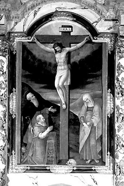 Tableau : le Christ en croix entre la Vierge, saint Antoine et Antoine Perrenot de Granvelle