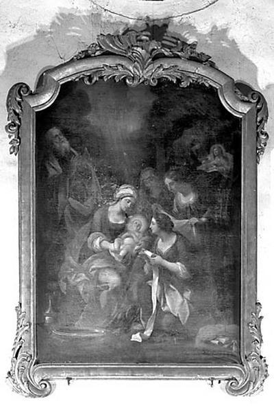 tableau et son cadre : la Nativité de la Vierge