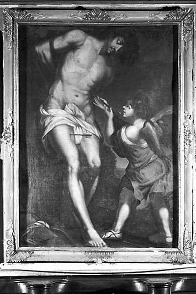 4 tableaux et leur cadre : saint Sébastien secouru par un ange, saint François de Paule priant, la Mort de saint François Xavier, saint Charles Borromée en prière