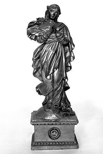 2 statues-reliquaires (statuettes) : saint Symphorien et Vierge de l'Immaculée Conception