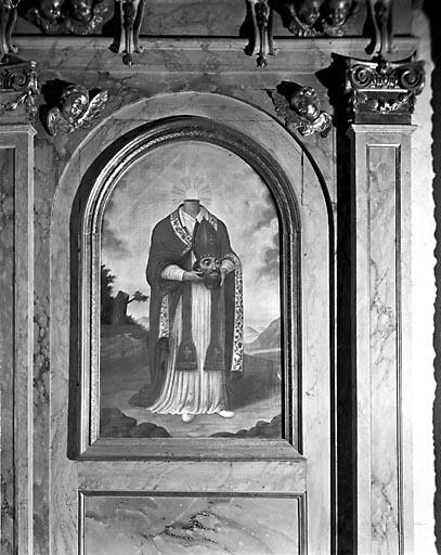Tableau : évêque céphalophore (saint Denis ou saint Ferréol ?)