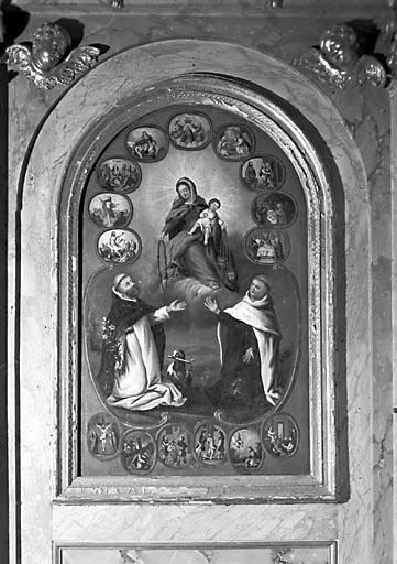 Tableau : la Donation du rosaire à saint Dominique et du scapulaire à saint Simon Stock