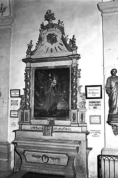 2 autels, 2 retables (autels secondaires de saint Joseph et de la Vierge)