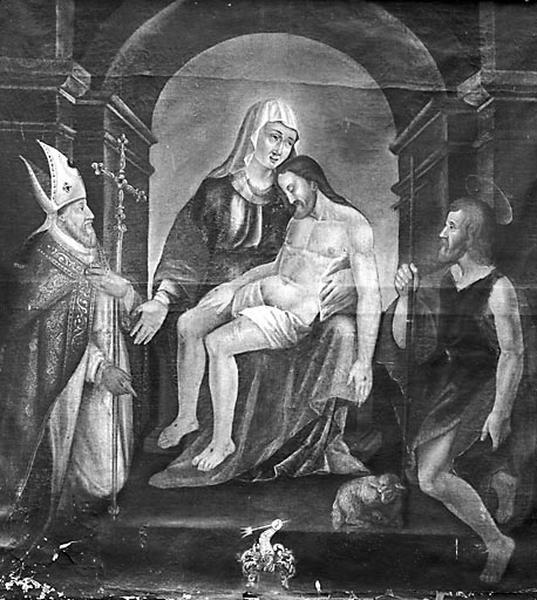 tableau : Vierge de Pitié avec donateur et saint Jean-Baptiste