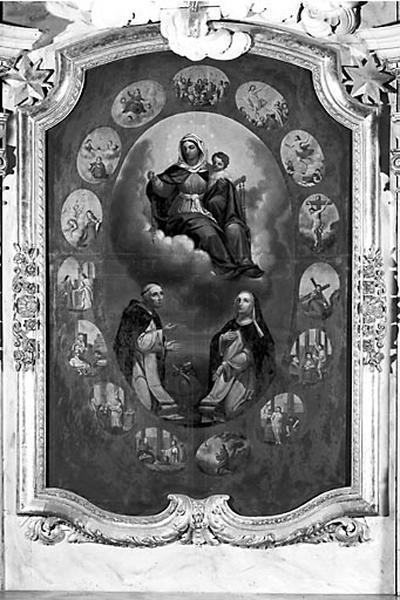 tableau d'autel et son cadre : la Donation du rosaire à saint Dominique et sainte Catherine de Sienne
