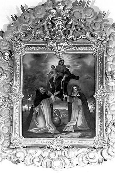 tableau et son cadre : la Donation du scapulaire à saint Dominique et sainte Catherine de Sienne