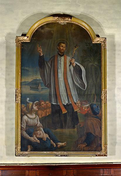 tableau et son cadre : la Prédication de saint François Xavier