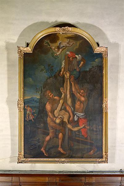 tableau et son cadre : la Crucifixion de saint Pierre et la Décollation de saint Paul