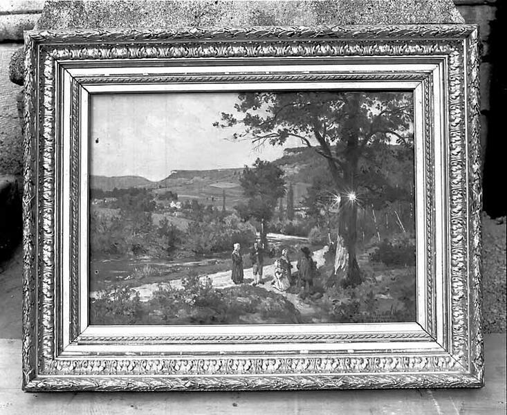 tableau : la Découverte de la statue miraculeuse de la Vierge
