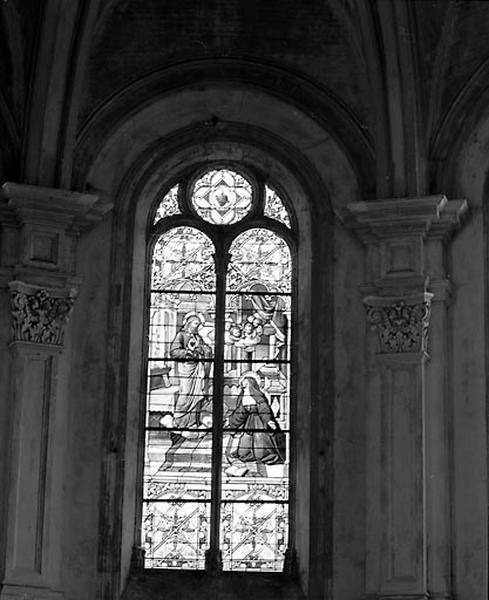3 verrières du choeur (baies 0 à 2) : l'Apparition du Sacré-Coeur à Marguerite-Marie Alacoque