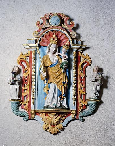 2 statues : le Sacré-Coeur et Vierge à l'Enfant