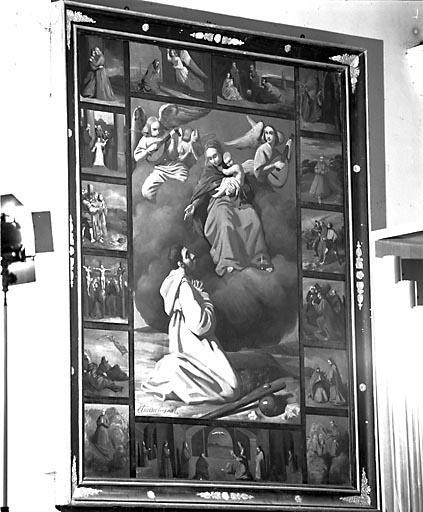Tableau : la Donation du rosaire à saint Bruno (?)