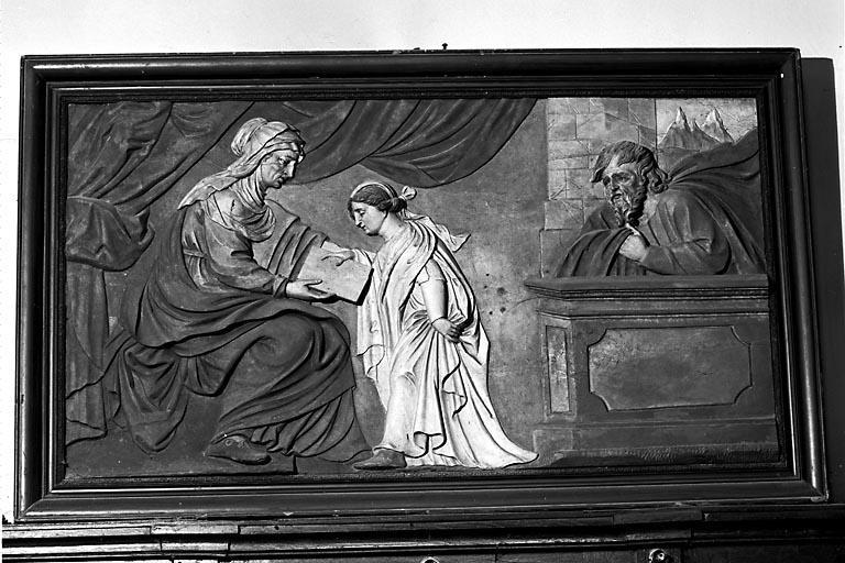 Bas-relief : l'Education de la Vierge