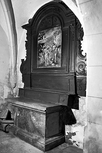 Autel, 2 gradins d'autel, retable des fonts baptismaux, tableau (autel de la chapelle des fonts baptismaux)