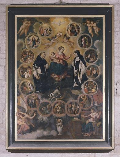 Tableau : la Donation du rosaire à saint Dominique et sainte Catherine de Sienne (n° 1)