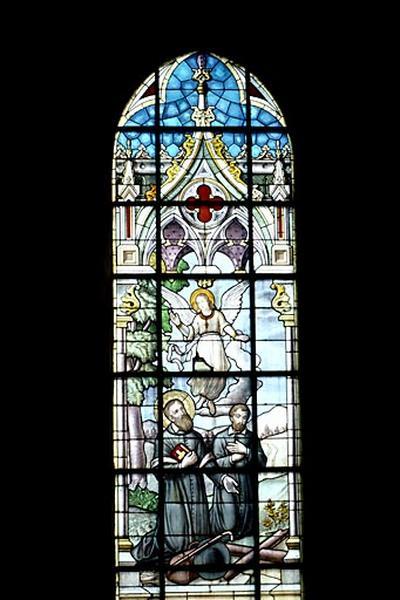 verrière (4) (verrière figurée) : scènes de la vie de saint François de Sales (baies 1 à 4)