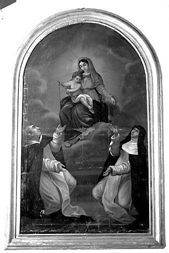 Tableau : la Donation du rosaire à saint Dominique et sainte Catherine de Sienne