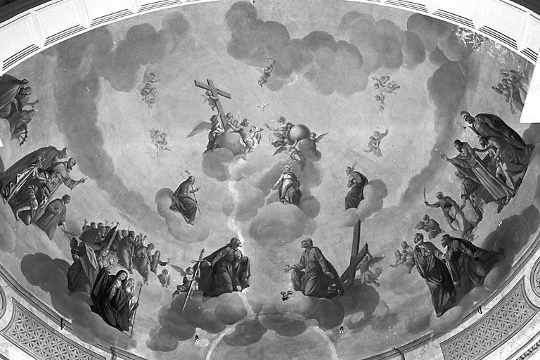 Peinture monumentale : l'Apothéose de la Croix (avec des personnages de l'Ancien Testament, les apôtres et les saints)