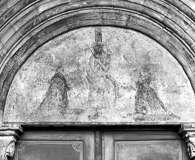 Peinture murale : le Christ de Pitié encadré de deux donateurs, François Grignet et son épouse Isabeau Renevier