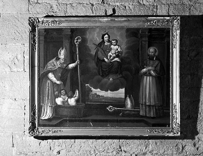 Tableau : l'Apparition de la Vierge à saint Nicolas et saint François de Sales
