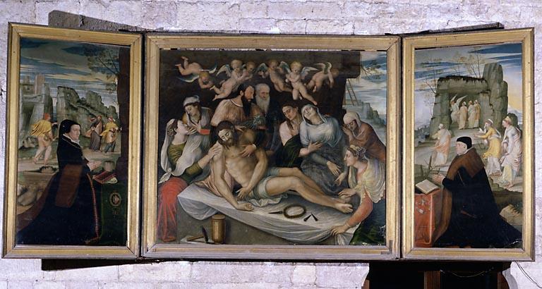Peinture (triptyque) : la Mise au tombeau encadrée de deux donateurs, l'Annonciation
