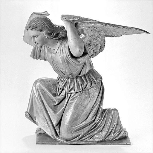 2 statues : anges adorateurs en atlante