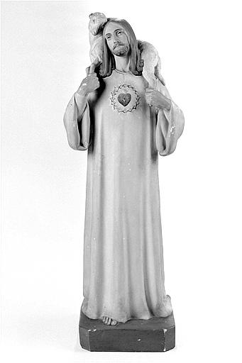 Statue : le Bon Pasteur et le Sacré-Coeur