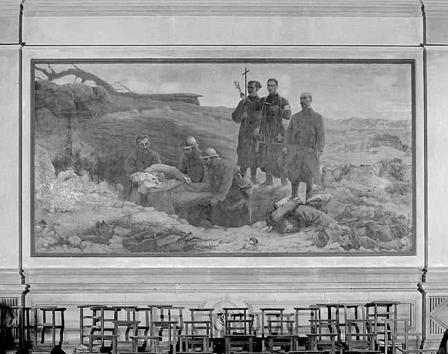 Peinture monumentale : scène de la guerre de 1914-1918