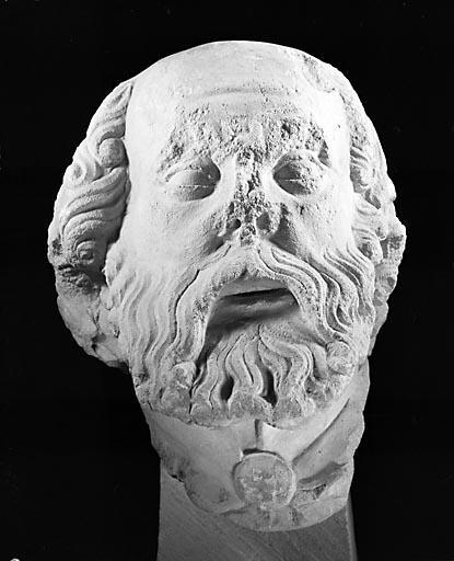 Statue (fragment) : tête de saint Nicodème (?)
