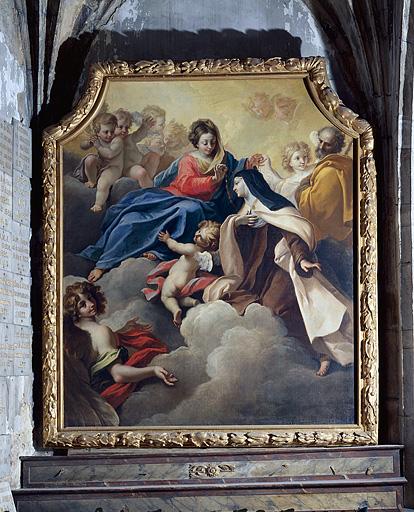 tableau : la Vierge remettant un collier à sainte Thérèse d'Avila