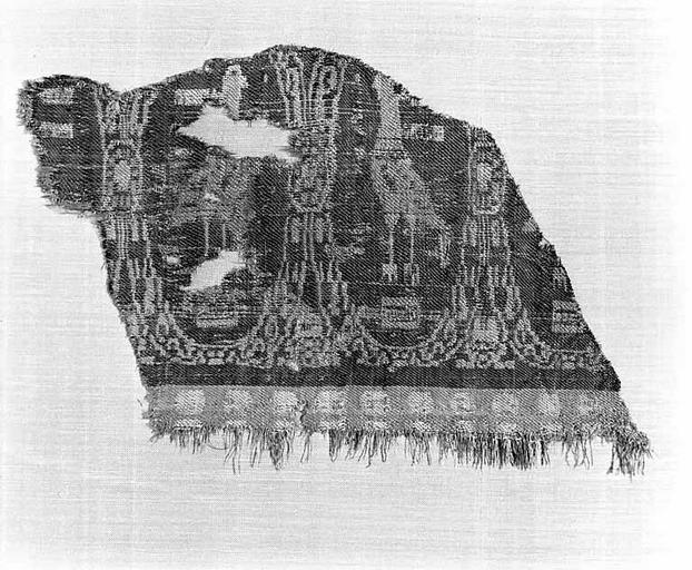 2e ensemble de 2 fragments de pièces de tissus de soie