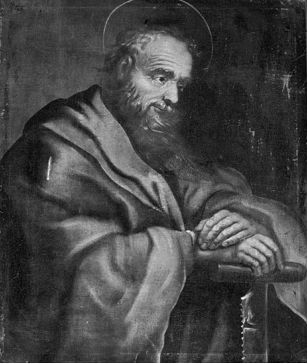 6 tableaux : saint Simon, saint Jean l'Evangéliste, saint Jacques, saint Pierre (?), le Christ bénissant et saint Paul