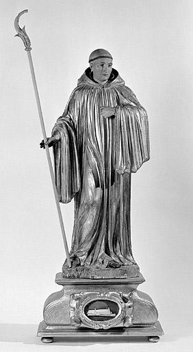2 statues : moines (saint Romain et saint Lupicin ?)